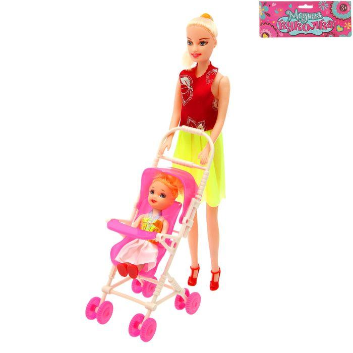 Кукла модель с малышкой в коляске, МИКС