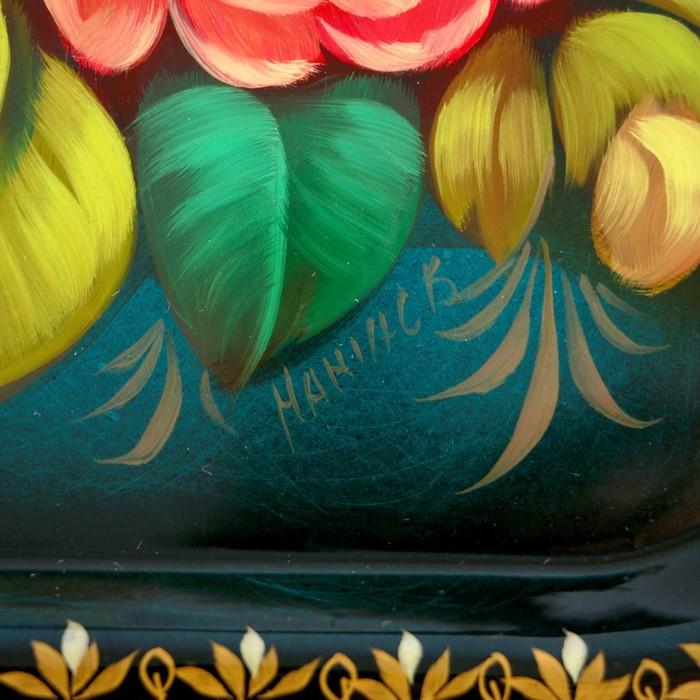 """Поднос жостовский """"Цветы"""", кружевной, автор Мажаев, 38х28 см"""