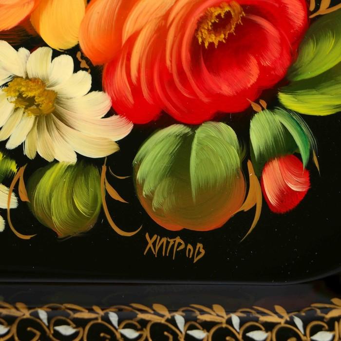 """Поднос жостовский """"Цветы"""", ровный, автор Хитров, 38х28 см"""