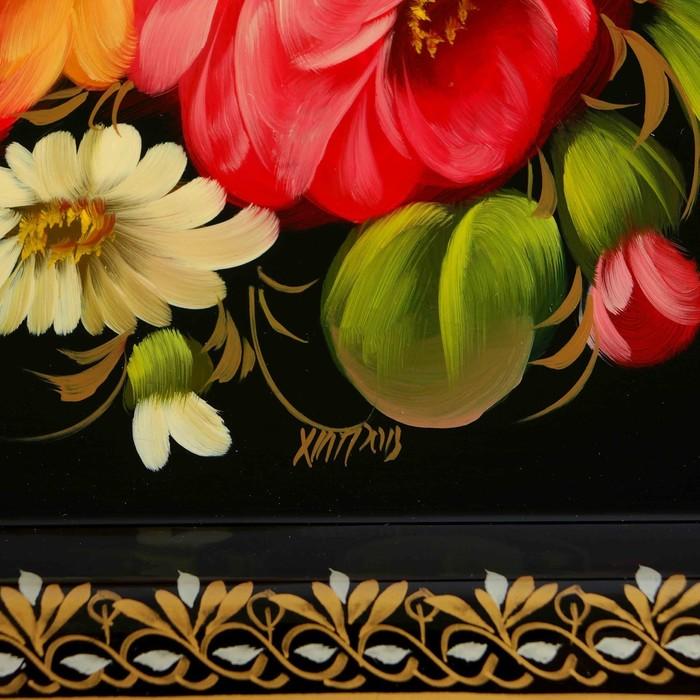 """Поднос жостовский """"Цветы с птицей"""", ровный, автор Хитров, 38х28 см"""