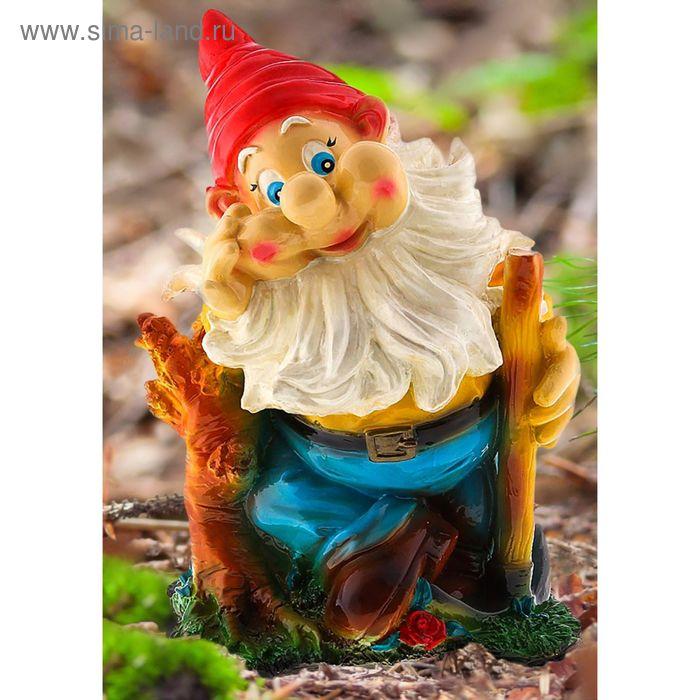 """Садовая фигура """"Гном с киркой"""" жёлтый кафтан, голубые штаны"""