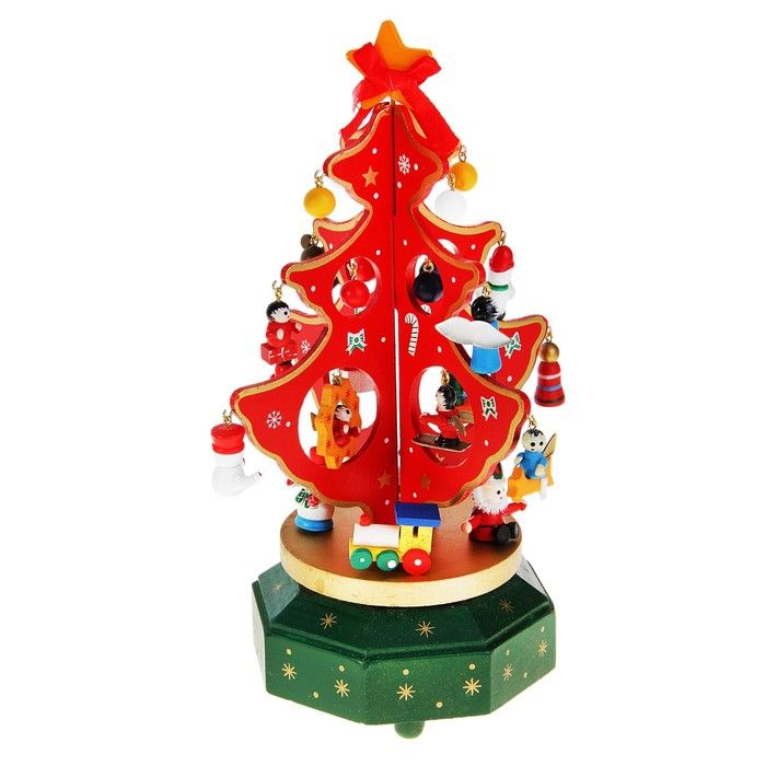"""Сувенир новогодний """"Елка на подставке с игрушками"""", 18 предметов, музыкальная, заводная - фото 1568991"""