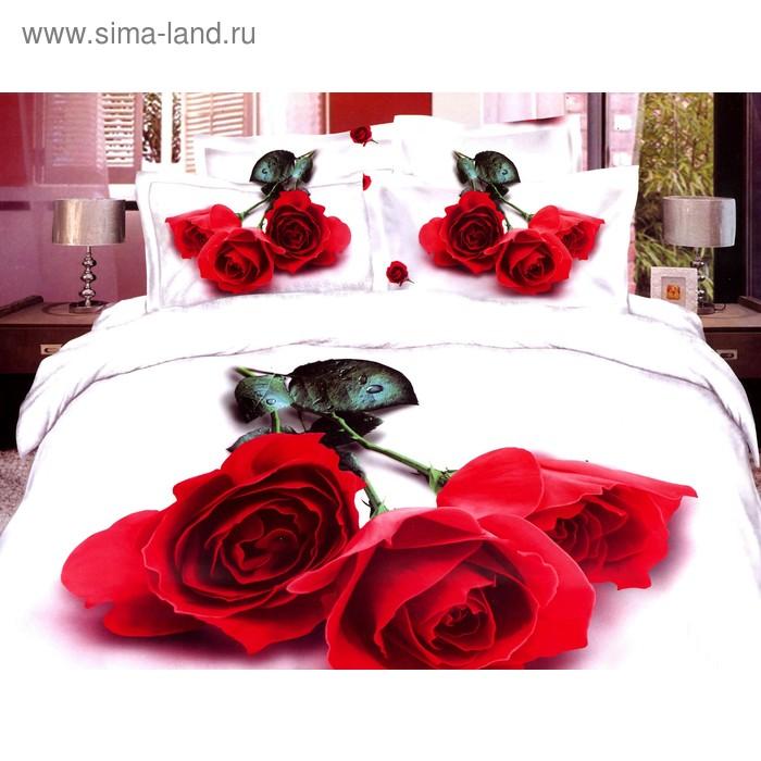 """Постельное бельё """"Этель 3Д"""" Алая роза 2 сп., 180*210 см 220*240 см 50*70 + 5 см - 2 шт."""