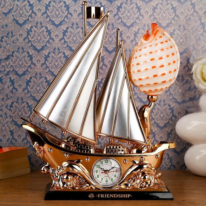 """Часы-светильник с будильником """"Кораблик и ракушка"""""""