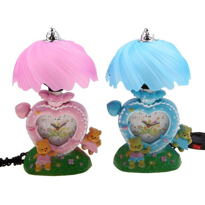 """Часы-светильник """"Мишки на поляне"""", настольные, 27х15 см, микс"""