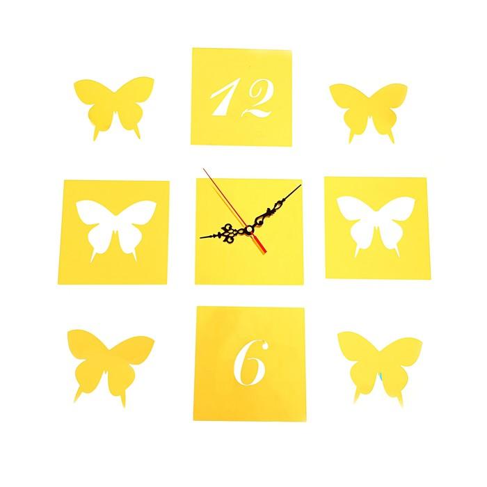 """Часы-наклейка DIY """"Бабочки"""", многоразового использования, золотые, 60*44см"""