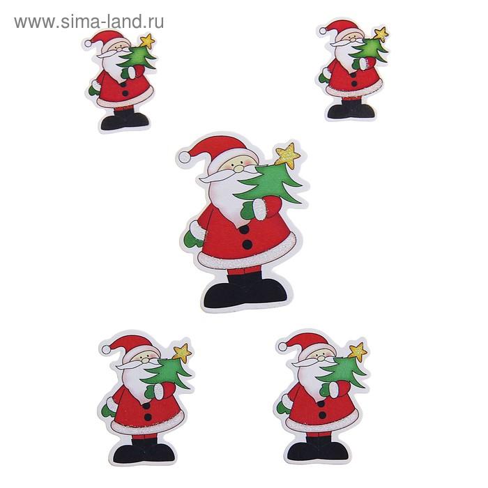 """Наклейки детские деревянные """"Дед Мороз и елка"""" (набор 5 шт)"""