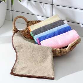 Салфетка для уборки Доляна, 30×30 см, 220 г/м2, микрофибра, цвет МИКС