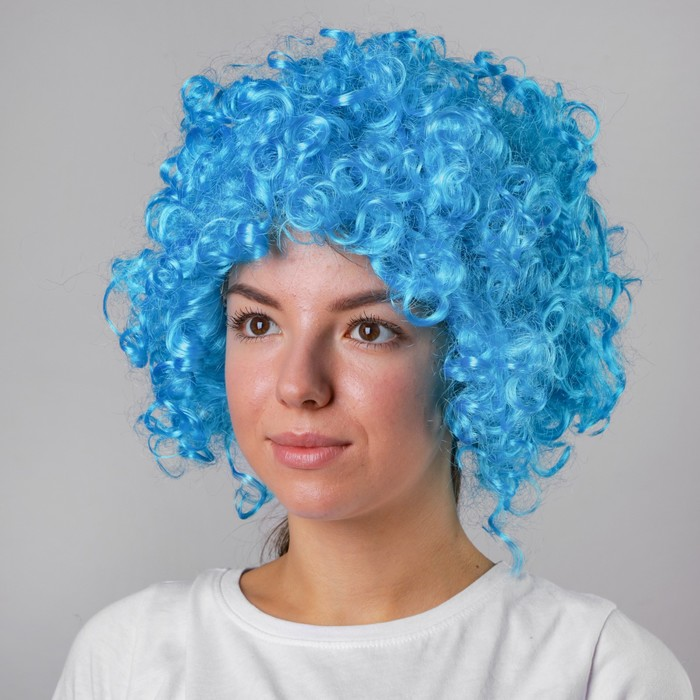 """Карнавальный парик """"Объём"""", цвет голубой, 120 г"""