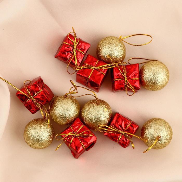"""Ёлочные игрушки """"Шарики и подарки"""" (набор 12 шт.)"""