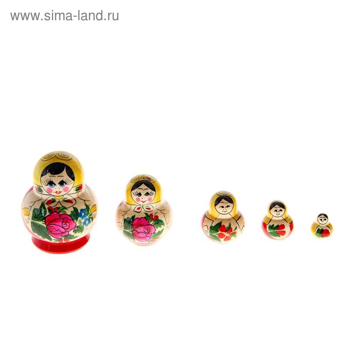 Матрешка круглая 5 кукол, семеновская роспись