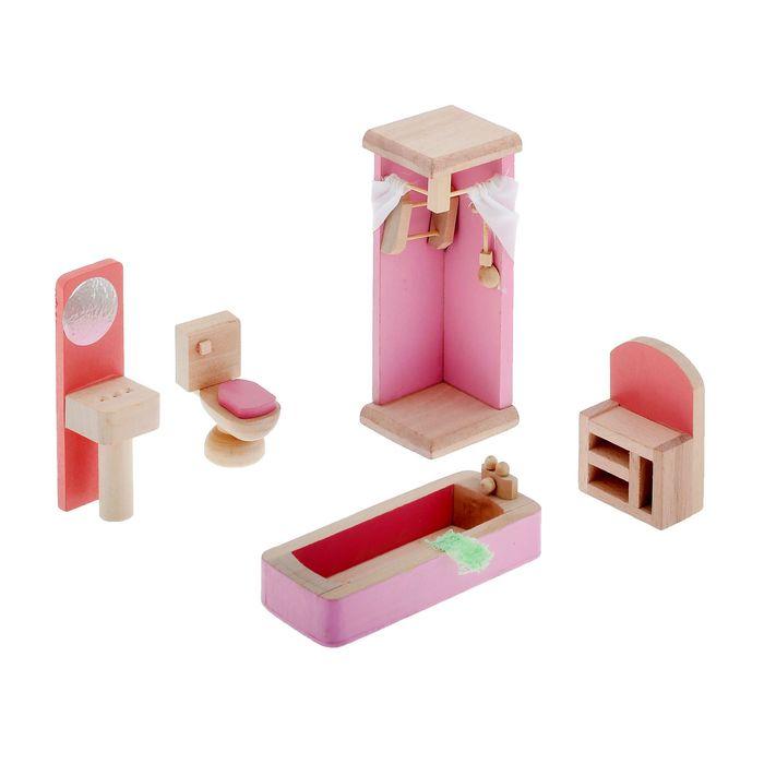 "Мебель кукольная ""Ванная комната"", 5 предметов"