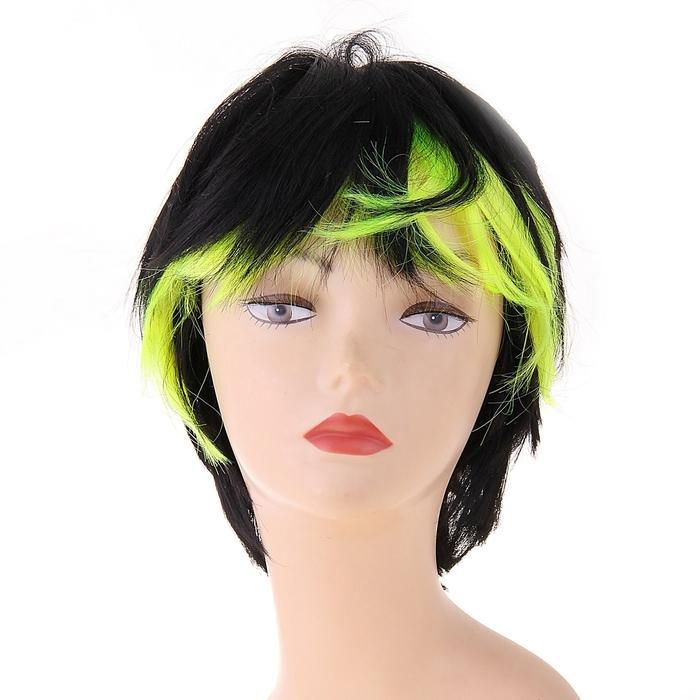 Карнавальный парик, лимонные концы, р-р 56-58, цвет чёрный