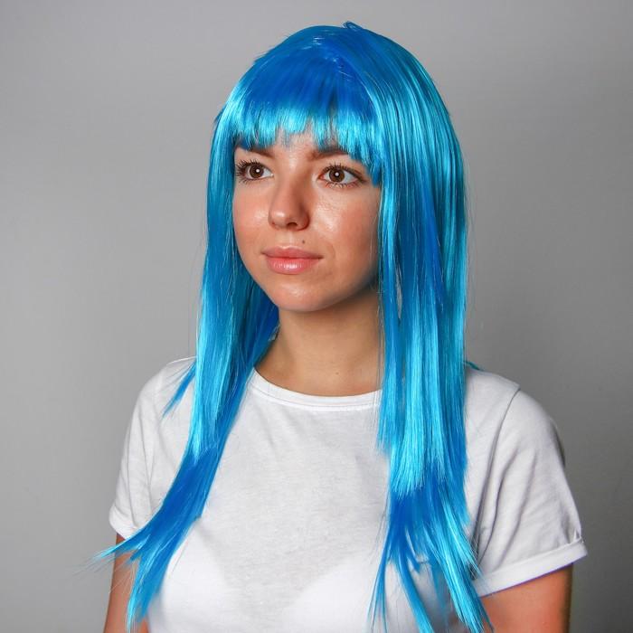 Карнавальный парик, длинные прямые волосы, цвет голубой, 120 г