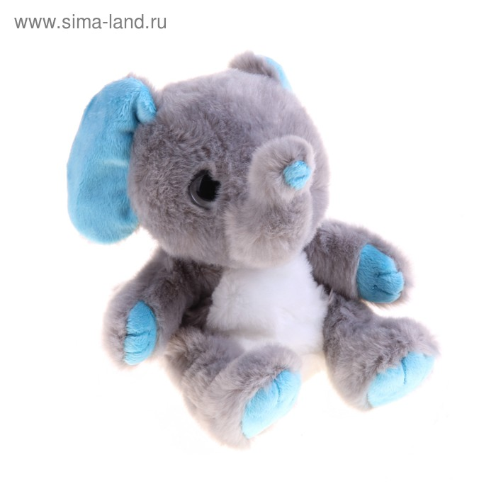 """Мягкая интерактивная игрушка-повторюшка """"Слоник"""", цвет серый с голубыми вставками"""