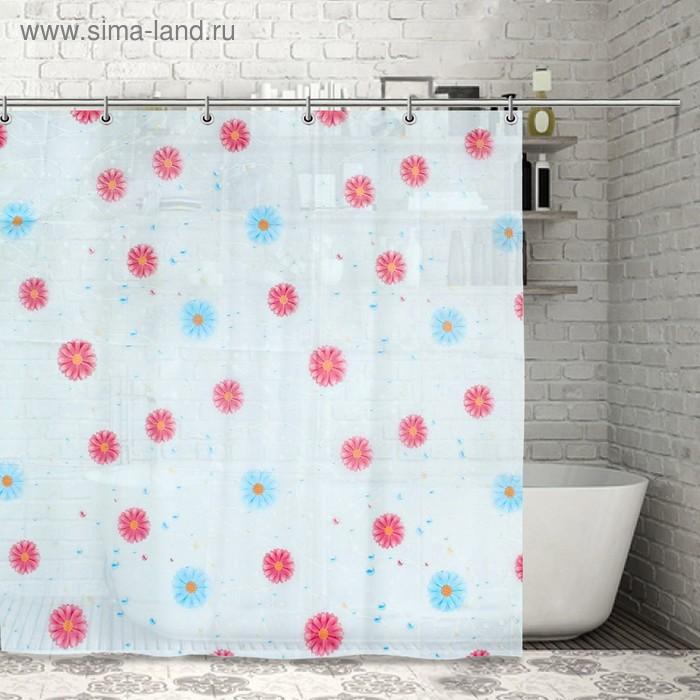 """Штора для ванной """"Разноцветные васильки"""", 12 декоративных крючков"""
