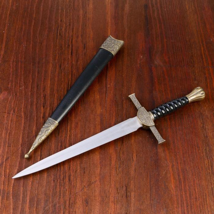 Сувенирный кортик, 35 см, чёрные ножны и витая рукоять