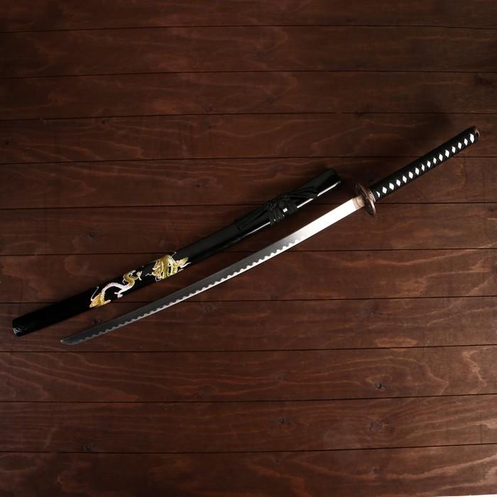 Сувенирное оружие «Катана на подставке», ножны с зелёными драконами