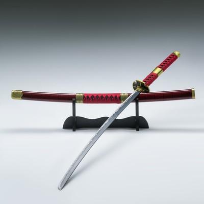 Сувенирное оружие «Катана на подставке», красные ножны с чёрными полосками, 103см