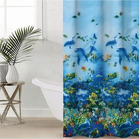Штора для ванной комнаты Доляна «Морская», 180×180 см, EVA