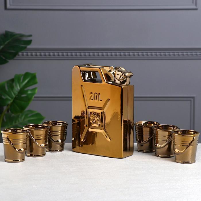 """Штоф с рюмками """"Канистра"""", золото, 7 предметов, 1,5 л"""