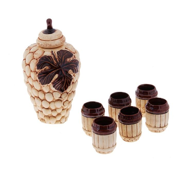 """Штоф с рюмками """"Виноградная гроздь"""", набор 7 предметов 1,2 л"""