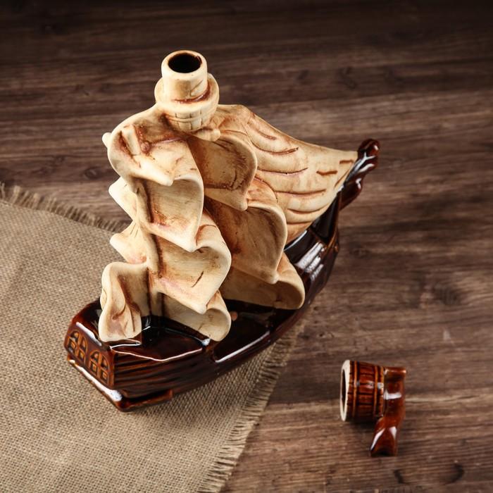 """Штоф с рюмками """"Корабль"""" шамот, глазурь, 7 предметов, 1 л"""