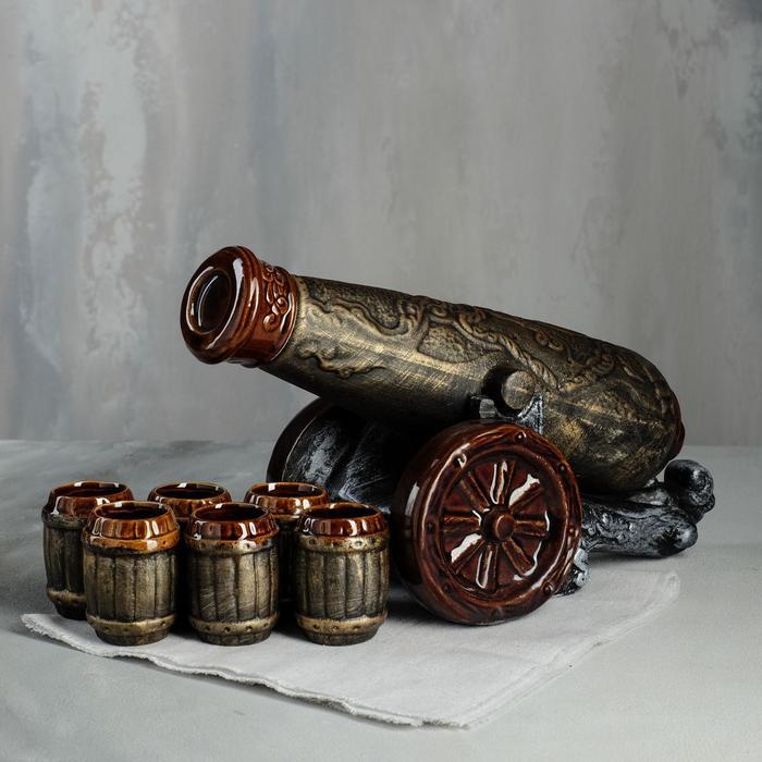 """Штоф с рюмками """"Пушка"""", 8 предметов, 0,9 л, микс"""