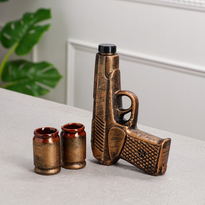 """Штоф с рюмками """"Пистолет"""", бронза, 3 предмета, 0,12 л"""