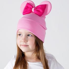 Шапка для девочки «Мышка», цвет розовый/принт бант фуксия, размер 46-50