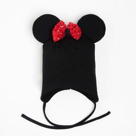 Шапочка «Мышка» с завязками, цвет чёрный/принт бантик, размер 42-46