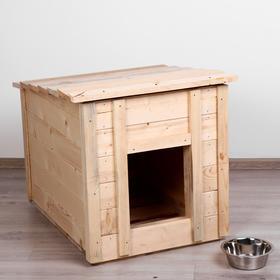Будка для собак деревянная, крыша прямая, 83 х 63 х 70 см