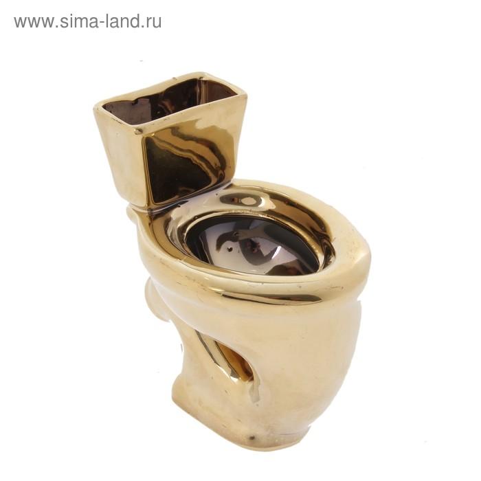 """Декоративная подставка """"Унитаз"""" золотой цвет"""