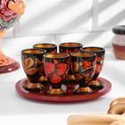 Set of glasses with tray, 6 pieces - 30 ml, Khokhloma