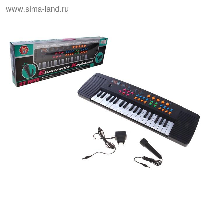 """Синтезатор """"Музыкальная пауза"""" с микрофоном, работает от сети и от батареек, 37 клавиш."""