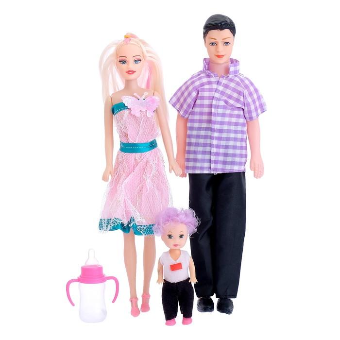 "Кукла ""Семья"" с аксессуарами, (набор 3 шт), МИКС"