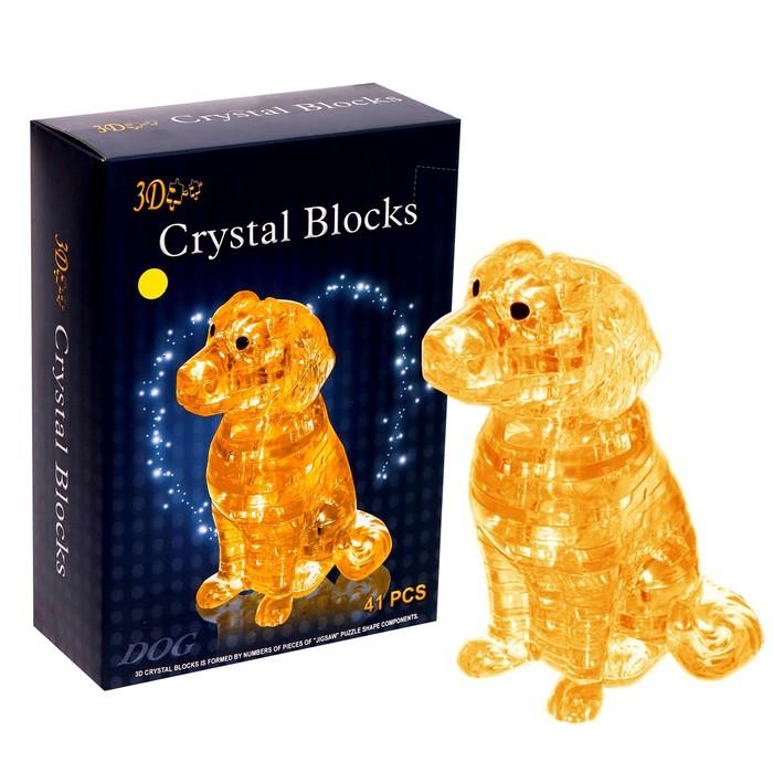 Пазл 3D кристаллический «Спаниель», 41 деталь, цвета МИКС