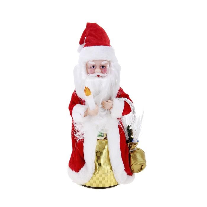 Дед Мороз, с рождественским фонариком, разводит руки, с подсветкой, русская мелодия