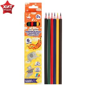 6 colors Calligrata sharpened pencils, hexagon, plastic, cardboard packaging, euro-weight