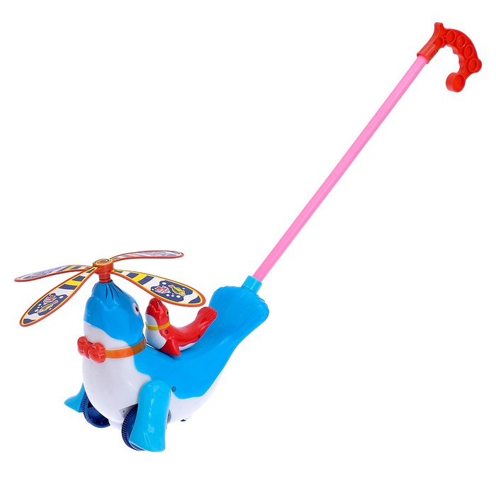 Каталка на палке «Морской котик» с вертушкой, длина ручки 43 см, цвета МИКС