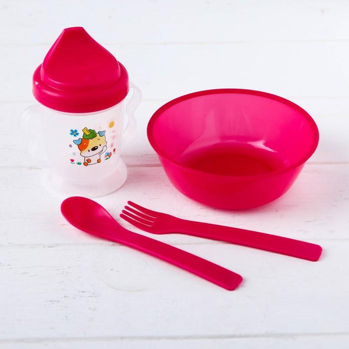 Набор детской посуды, 4 предмета: миска, поильник, ложка и вилка, цвета МИКС