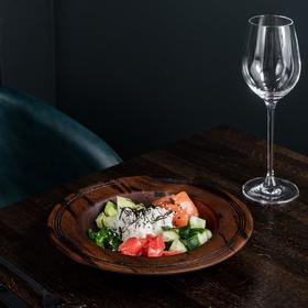 Тарелка суповая из натурального кедра Magistro, 24×3,3 см, 300 мл, цвет шоколадный
