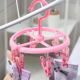 Сушилка для белья подвесная, 6 прищепок, цвет МИКС - фото 4634980