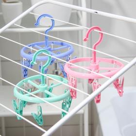Сушилка для белья подвесная, 6 прищепок, цвет МИКС - фото 4634978