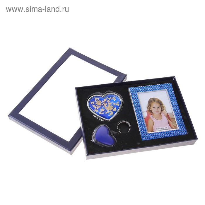 Подарочный набор, 3 предмета в коробке: фонарик, зеркало, фоторамка