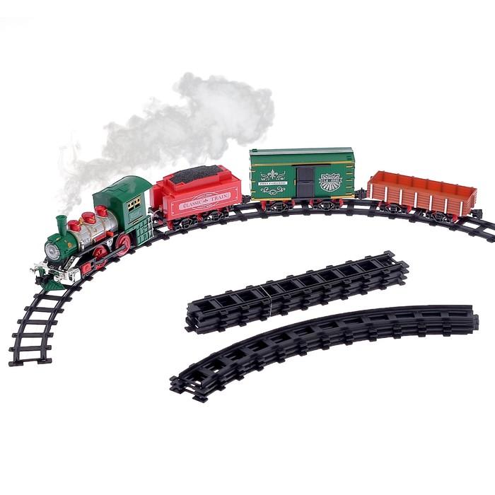 """Железная дорога """"Классик"""", со световыми, звуковыми и дымовыми эффектами, протяжённость пути 2,88 м"""