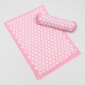Комплект аппликаторов игольчатых, розовый: «Коврик» на мягкой подложке, 242 колючки, 41х60 см + «Валик», 90 колючек, 38х10 см