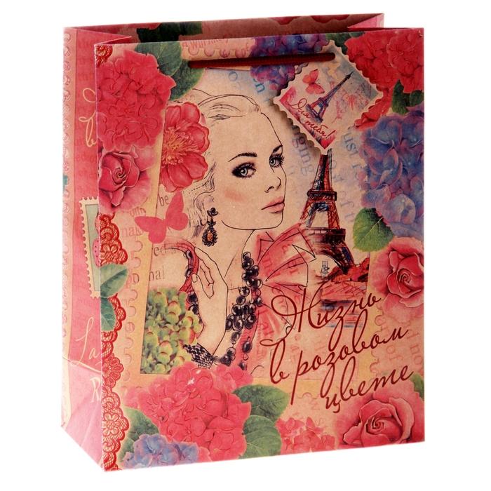 Пакет крафтовый вертикальный «Девушка винтаж», 26 × 32 × 12 см
