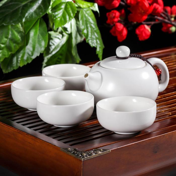 Набор для чайной церемонии «Небо», 5 предметов: чайник 200 мл, 4 чашки, 50 мл, цвет белый