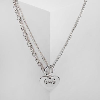 Large heart Chain pendant, silver color, 45cm